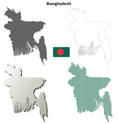 Bangladesh outline map set vector image