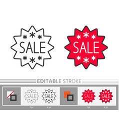 banner sticker star sale line icon editable stroke vector image