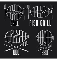 bbq set and design elements vector image