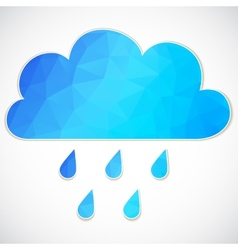 Blue cloud with rain drop of triangles vector image