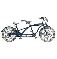 Blue tandem bicycle vector