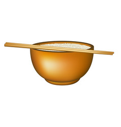 bowl of rice and chopsticks vector image