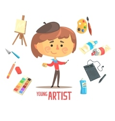 Boy Artist Painter Kids Future Dream Professional vector