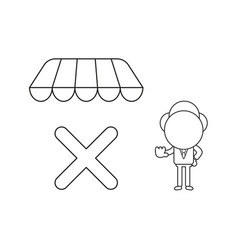 businessman character with x mark under store vector image