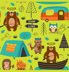 Camping seamless pattern with animals on the lake vector