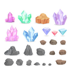 Color crystals and minerals precious diamond vector