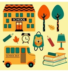 Colorful school icons vector