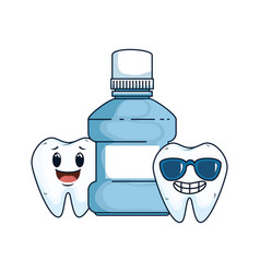 Comic teeth couple with mouthwash kawaii vector