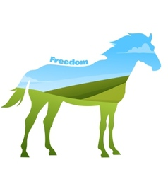 Concept of horse silhouette with text on field vector