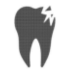 Cracked tooth halftone dotted icon vector