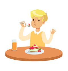 Cute blonde boy sitting at table and eating a vector