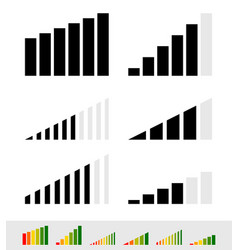 different signal strength indicators vector image