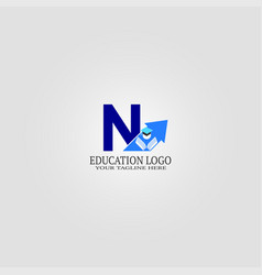 Education logo template with n letter logo vector