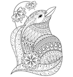 entangle exotic bird in flowers hand drawn vector image