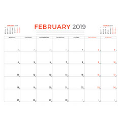 february 2019 calendar planner stationery design vector image