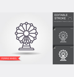 ferris wheel line icon with editable stroke with vector image
