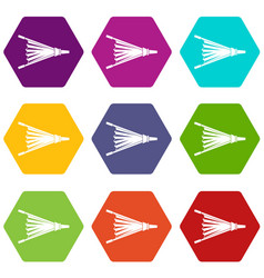 fire bellows icon set color hexahedron vector image