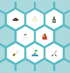 flat icons sword pirate hat cranium and other vector image