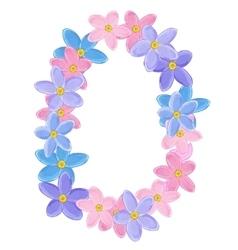 Floral oval wreath vector