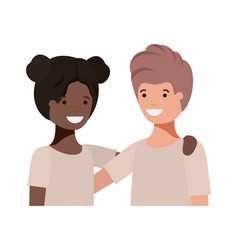Friendly teenagers ethnicity couple characters vector