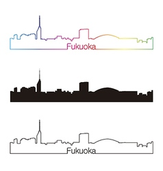 Fukuoka skyline linear style with rainbow vector