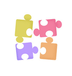 Fun game cartoon puzzle pieces with trendy vector