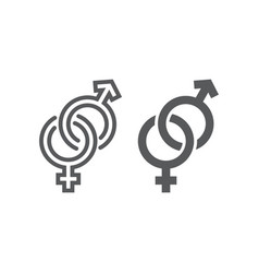 gender signs line and glyph icon love and sex vector image