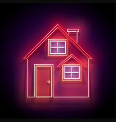 Glow cozy house with red roof vector