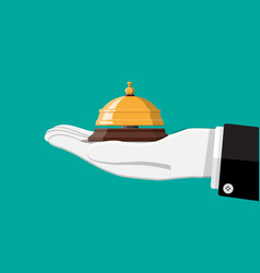 golden service bell in hand vector image