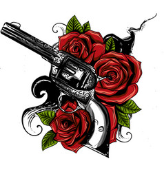 Guns on flower and vector