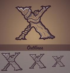 Halloween decorative alphabet - X letter vector image