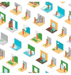 home repair worker people 3d seamless pattern vector image