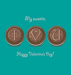 i love you chocolate cookies with graceful decor vector image