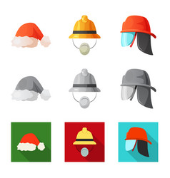 Isolated object of headwear and cap sign set of vector