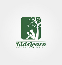 Kid learning logo templatechildren learning icon vector