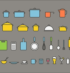 Kitchen tools silhouette icons collection Design vector image