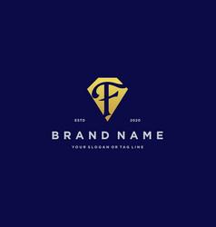Letter f diamond gold logo design vector
