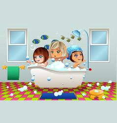 little girls having a bubble bath vector image
