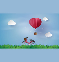 Love and valentine dayorigami made hot air balloon vector