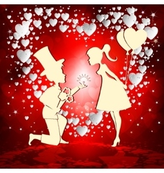 love couple on red background vector image