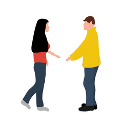 man and woman greet each other while greeting vector image