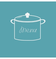 Menu cover with saucepan flat design style vector