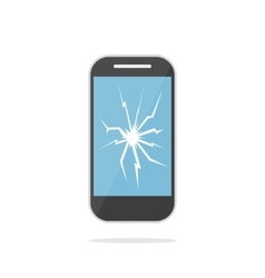 Mobile phone with crack screen vector