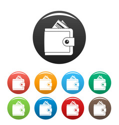 money wallet icons set color vector image