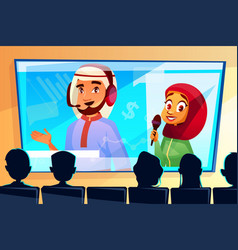 Muslim online conference cartoon vector