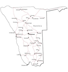Namibia Black White Map vector image