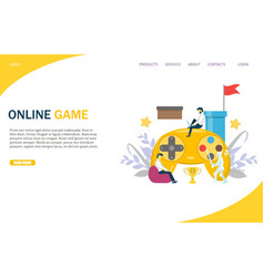 online game website landing page design vector image