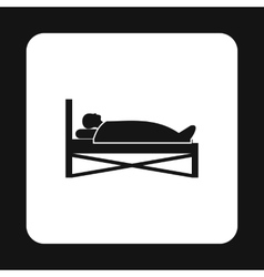 Patient in bed in hospital icon simple style vector
