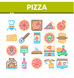 pizza delicious food collection icons set vector image
