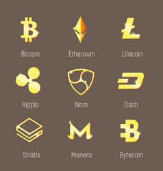 popular cripto currency logo set vector image